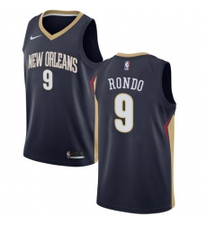 Men's Nike New Orleans Pelicans #9 Rajon Rondo Swingman Navy Blue Road NBA Jersey - Icon Edition