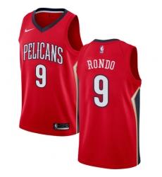 Men's Nike New Orleans Pelicans #9 Rajon Rondo Swingman Red Alternate NBA Jersey Statement Edition