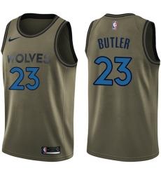 Youth Nike Minnesota Timberwolves #23 Jimmy Butler Swingman Green Salute to Service NBA Jersey