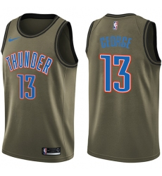 Men's Nike Oklahoma City Thunder #13 Paul George Swingman Green Salute to Service NBA Jersey