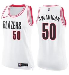 Women's Nike Portland Trail Blazers #50 Caleb Swanigan Swingman White/Pink Fashion NBA Jersey