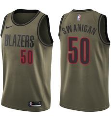 Youth Nike Portland Trail Blazers #50 Caleb Swanigan Swingman Green Salute to Service NBA Jersey