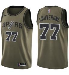 Men's Nike San Antonio Spurs #77 Joffrey Lauvergne Swingman Green Salute to Service NBA Jersey
