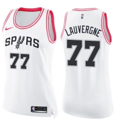 Women's Nike San Antonio Spurs #77 Joffrey Lauvergne Swingman White/Pink Fashion NBA Jersey