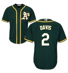Youth Majestic Oakland Athletics #2 Khris Davis Authentic Green Alternate 1 Cool Base MLB Jersey