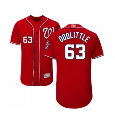 Men's Washington Nationals #63 Sean Doolittle Red Alternate Flex Base Authentic Collection Baseball Jersey