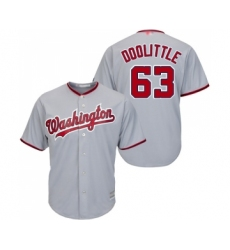 Men's Washington Nationals #63 Sean Doolittle Replica Grey Road Cool Base Baseball Jersey