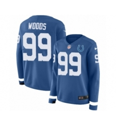 Women's Nike Indianapolis Colts #99 Al Woods Limited Blue Therma Long Sleeve NFL Jersey