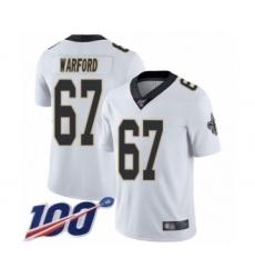 Men's New Orleans Saints #67 Larry Warford White Vapor Untouchable Limited Player 100th Season Football Jersey
