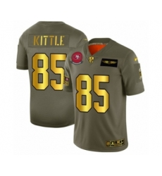 Men's San Francisco 49ers #85 George Kittle Limited Olive Gold 2019 Salute to Service Football Jersey