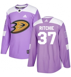 Youth Adidas Anaheim Ducks #37 Nick Ritchie Authentic Purple Fights Cancer Practice NHL Jersey