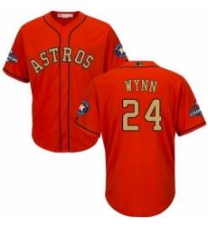 Youth Majestic Houston Astros #24 Jimmy Wynn Authentic Orange Alternate 2018 Gold Program Cool Base MLB Jersey