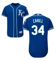 Men's Majestic Kansas City Royals #34 Trevor Cahill Blue Flexbase Authentic Collection MLB Jersey