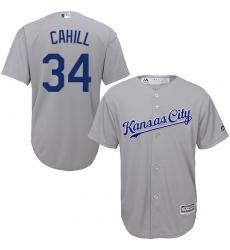 Men's Majestic Kansas City Royals #34 Trevor Cahill Replica Grey Road Cool Base MLB Jersey