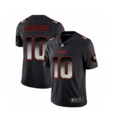 Men San Francisco 49ers #10 Jimmy Garoppolo Black Smoke Fashion Limited Jersey