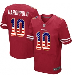 Men's Nike San Francisco 49ers #10 Jimmy Garoppolo Elite Red Home USA Flag Fashion NFL Jersey