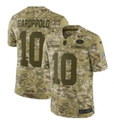 Men's Nike San Francisco 49ers #10 Jimmy Garoppolo Limited Camo 2018 Salute to Service NFL Jersey