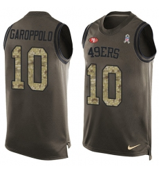 Men's Nike San Francisco 49ers #10 Jimmy Garoppolo Limited Green Salute to Service Tank Top NFL Jersey