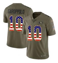 Men's Nike San Francisco 49ers #10 Jimmy Garoppolo Limited Olive/USA Flag 2017 Salute to Service NFL Jersey