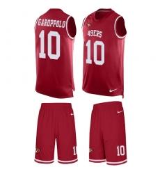 Men's Nike San Francisco 49ers #10 Jimmy Garoppolo Limited Red Tank Top Suit NFL Jersey