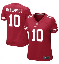 Women's Nike San Francisco 49ers #10 Jimmy Garoppolo Game Red Team Color NFL Jersey