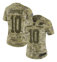 Women's Nike San Francisco 49ers #10 Jimmy Garoppolo Limited Camo 2018 Salute to Service NFL Jersey