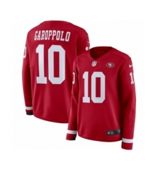 Women's Nike San Francisco 49ers #10 Jimmy Garoppolo Limited Red Therma Long Sleeve NFL Jersey