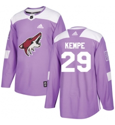Youth Adidas Arizona Coyotes #29 Mario Kempe Authentic Purple Fights Cancer Practice NHL Jersey