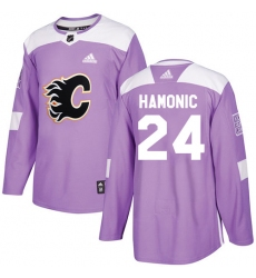 Men's Adidas Calgary Flames #24 Travis Hamonic Authentic Purple Fights Cancer Practice NHL Jersey