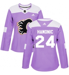 Women's Reebok Calgary Flames #24 Travis Hamonic Authentic Purple Fights Cancer Practice NHL Jersey