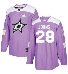 Men's Adidas Dallas Stars #28 Stephen Johns Authentic Purple Fights Cancer Practice NHL Jersey