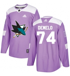 Youth Adidas San Jose Sharks #74 Dylan DeMelo Authentic Purple Fights Cancer Practice NHL Jersey