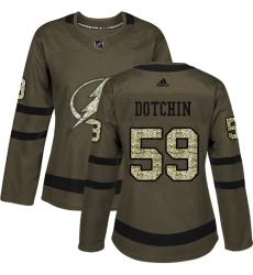 Women's Adidas Tampa Bay Lightning #59 Jake Dotchin Authentic Green Salute to Service NHL Jersey