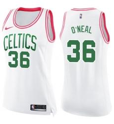 Women's Nike Boston Celtics #36 Shaquille O'Neal Swingman White/Pink Fashion NBA Jersey
