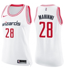 Women's Nike Washington Wizards #28 Ian Mahinmi Swingman White/Pink Fashion NBA Jersey