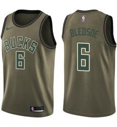 Men's Nike Milwaukee Bucks #6 Eric Bledsoe Swingman Green Salute to Service NBA Jersey