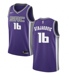 Men's Nike Sacramento Kings #16 Peja Stojakovic Authentic Purple Road NBA Jersey - Icon Edition