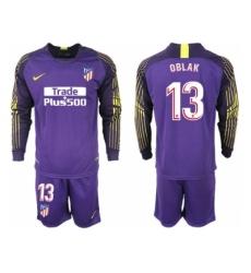 2018-2019 Atletico Madrid purple goalkeeper long sleeve 13 Club Soccer Jersey