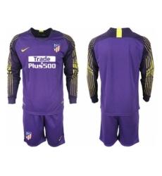 2018-2019 Atletico Madrid purple goalkeeper long sleeve blank Club Soccer Jersey