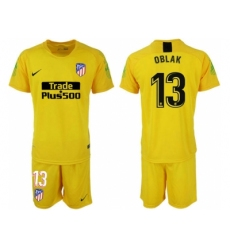 2018-2019 Atletico Madrid yellow goalkeeper 13 Club Soccer Jersey