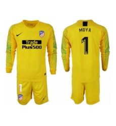 2018-2019 Atletico Madrid yellow goalkeeper long sleeve 1 Club Soccer Jersey