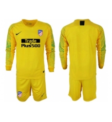2018-2019 Atletico Madrid yellow goalkeeper long sleeve blank Club Soccer Jersey