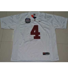 Crimson Tide #4 Mark Barron White 2012 BCS Championship Patch Embroidered NCAA Jersey