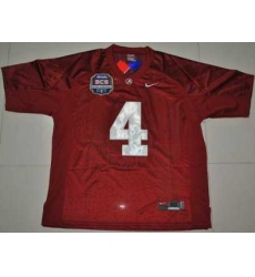 Crimson Tide #4 Marquis Maze Red 2012 BCS Championship Patch Embroidered NCAA Jersey