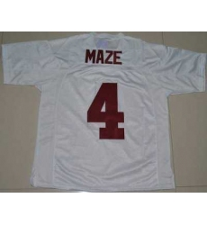 Crimson Tide #4 Marquis Maze White Embroidered NCAA Jersey