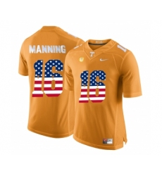Tennessee Volunteers 16 Peyton Manning Orange USA Flag College Football Jersey