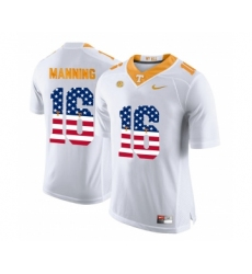 Tennessee Volunteers 16 Peyton Manning White USA Flag College Football Jersey