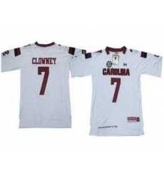 Under Armour South Carolina 7 Javedeon Clowney White New Style Jerseys with New SEC Patch
