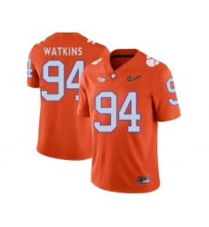 Clemson Tigers 94 Carlos Watkins Orange With Diamond Logo College Football Jersey