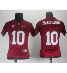 Women Alabama Crimson Tide 10 McCarron Red 2012 SEC Patch Jerseys